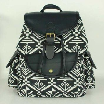 LMFON1O Day First Black Aztec Geometry Travel Bag Canvas Lightweight College Backpack