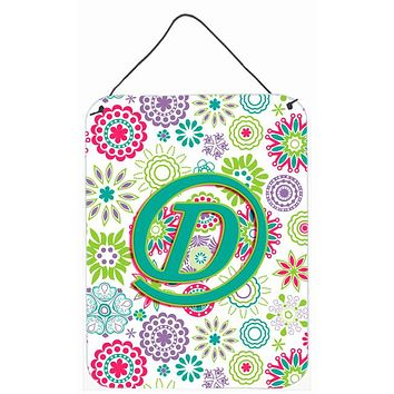 Letter D Flowers Pink Teal Green Initial Wall or Door Hanging Prints CJ2011-DDS1216