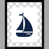 Nautical Nursery Decor Baby Boy Sailboat, Gray and Navy, Art, CUSTOMIZE YOUR COLORS 8x10 Prints Nursery Decor Print Art Baby Room Decor Kids