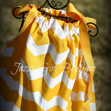 Girls Pillowcase Dress Yellow Chevron with Yellow Ribbon Ties Sz 6mo, 12mo, 18mo, 2T, 3T, 4T, 5 Sz 6, 7, 8 Three Dollars More