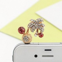 Earphone Jack Accessory Coconut Trees Crystal Pearls / Dust Plug / Ear Jack For For Iphone 4 4S / i