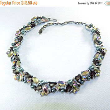 Christmas in July Sale Stunning Kramer Statement Necklace, 1950s Formal Necklace, Bridal Jewelry, Silvery Gray Faux Pearl AB Stones, Vintage