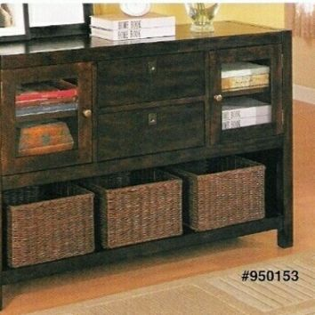 Rich tobacco finish wood console table with 2 drawers and cabinets with baskets