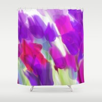 Meadow Flowers Abstract 2 Shower Curtain by Jen Warmuth Art And Design