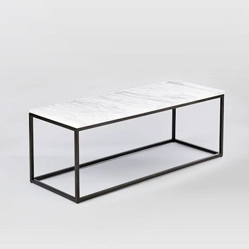 Box Frame Coffee Table - Marble/Antique Bronze