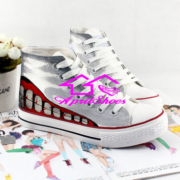 Custom Anime Shoes, Cosplay Sneakers for Tokyo Ghoul Fans, Amazing Shoes in Grey Background, Not Converse