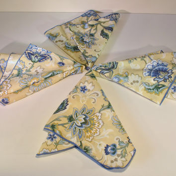 4 New French Provence Yellow & Blue Floral Napkins