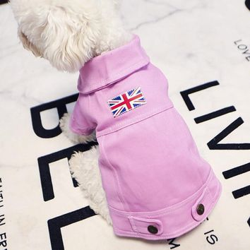 Trendy Denim Dog British Jacket Dog Cat Clothes Puppy Jeans Jacket Clothes for Small Pet  Teddy French Bulldog Clothes  XS S M L XL AT_94_13