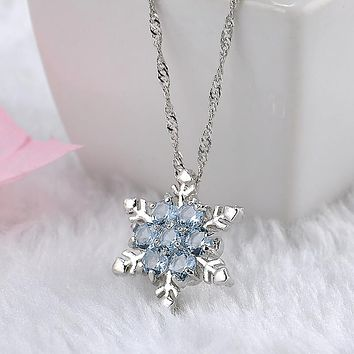 Cute Frozen Inspired Blue Snowflake Zircon Crystal Flower Silver Pendant & Necklace for Women
