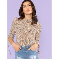 Multicolor Stand Collar Short Sleeve Shirt
