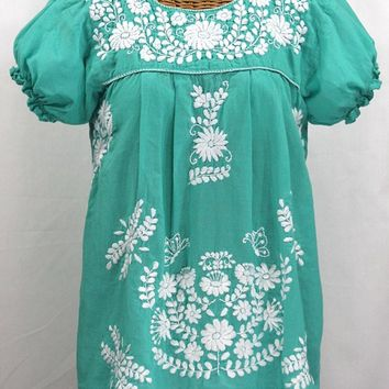 """La Mariposa Corta"" Embroidered Mexican Style Peasant Top - Mint Green"