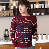 Zigzag  Pullover Knit  Sweater