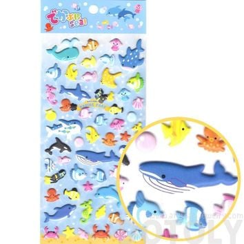 Sea Creatures Aquarium Themed Whale Shark Octopus Fish Shaped Puffy Stickers
