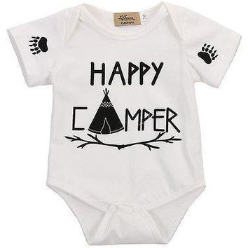 Happy Camper Printed Baby Romper