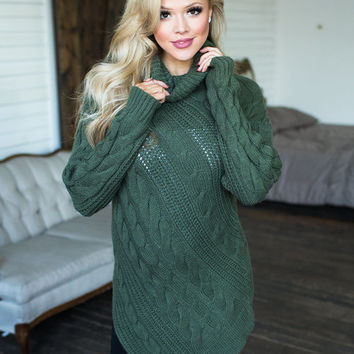 Perfectly Knit Sweater Top Olive