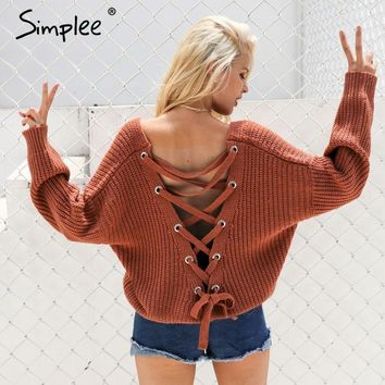 Simplee Sexy backless knitting pullover  winter sweater