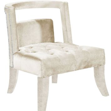 Tribeca Deep Tufting Cream Velvet Accent Chair