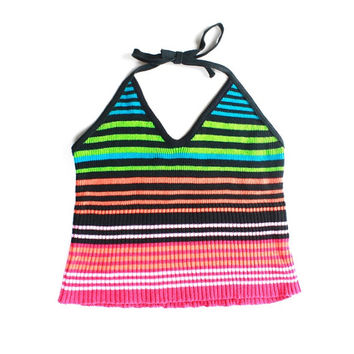 90's Colorful Striped Ribbed Halter Top M