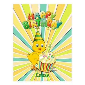 Colorful Birthday Chicken Cartoon Postcard