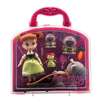"""disney store 5"""" frozen anna animator's collection mini doll set new with box"""