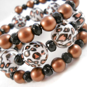 Leopard Print Bracelet Stacked Bracelets Teen Jewelry Brown and Black