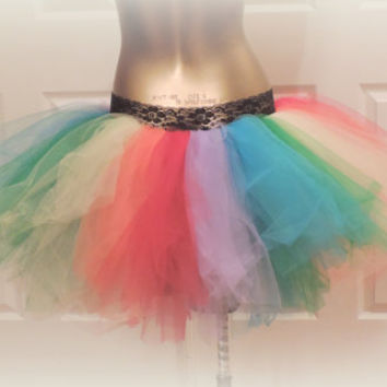 Adult Rainbow tutu, Adult bustle Tutu, Gay Pride tutu, rainbow  tutu, gogo dancer, rave tutu, edc raver tutu, Somewhere over the rainbow