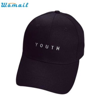 Men Cotton Baseball Cap WOMAIL Delicate Hot! youth letter Embroidery Boys Girls Snapback Hip Hop Flat Hat W15 @