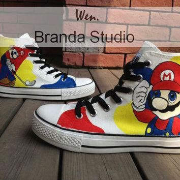 VONR3I Super Mario Children's Shoes,Studio Hand Painted Shoes 49 Usd,Paint On Custom Converse