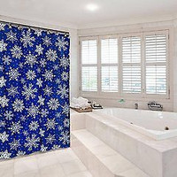Santa's Naughty and Nice Christmas Fabric Shower Curtain - Snowflake