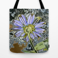Purple Glow Daisy  Tote Bag by KCavender Designs