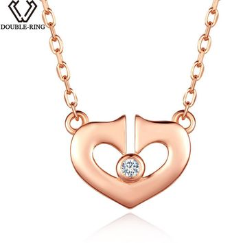 DOUBLE-R 0.02ct White Natural Diamond Necklace Pendant Female 925 Silver Rose Gold Brand Heart Jewelry Ladies Gift 18 inch Chain
