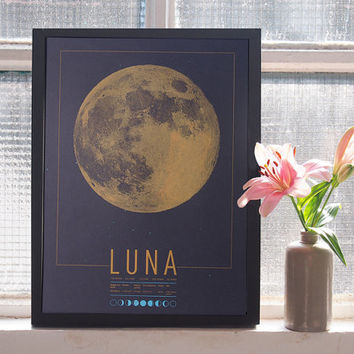Glow in the dark Moon - Milky Way - Galaxy - Astronomy - Handscreened - Poster Screen print - 11.4 x 16.5 in