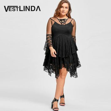 Womens Lace Plus Size Sheer Ruffles Tiered Dress
