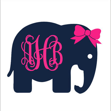 Elephant Monogram with Bow Car Decal Car Decal Preppy Car Decal Personalized Decal Preppy Elephant Monogram Decal Teen Girls Women