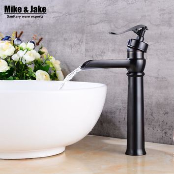 Bathroom Black bronze high waterfall basin faucet black tall square faucets deck waterfall water tap basin stand tap FH3369
