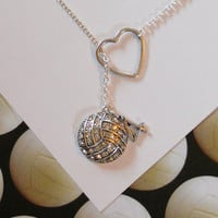 Volleyball / Water Polo  Necklace with Rhinestones, Heart and Number, handmade jewelry