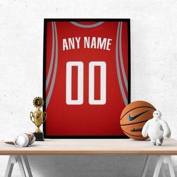 Houston Rockets Jersey Poster - Print Personalized Select ANY Name & ANY Number