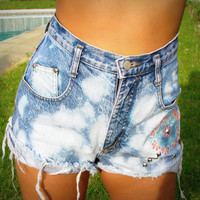 Upcycled Embroidered And Studded High Waist Denim by RomaniRose
