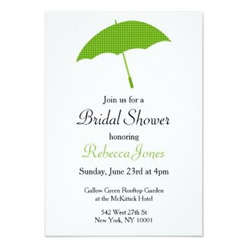 Green Umbrella Bridal Shower Invitation