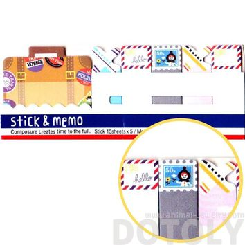 Travel Themed Suitcase Airmail Stamps Memo Pad Post-it Index Sticky Tabs
