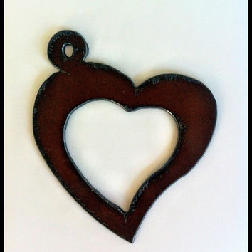 Rustic, Recycled Metal Open Heart Sweetheart Large Pendant Charm Wedding Favor Valentine Christmas Ornament Jewelry Supplies - Handmade Crafts by Delilah Badapple