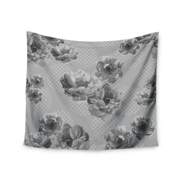 "Pellerina Design ""Lace Peony in Gray"" Grey Floral Wall Tapestry"