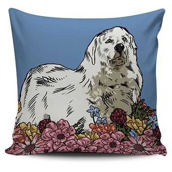 Illustrated Great Pyrenees Pillow Cover