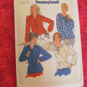 SALE UnCut 1970's Butterick Sewing Pattern, 6333! Size 14-18, Women's Medium to Large or XL, Shirt Blouses, Hippie Style, Casual or Maternit