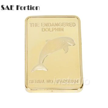 SAE Fortion The Rare Endanger Animal Dolphin Gold Plated Bullion Bar Australia Souvenir Coin JNB7896