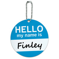 Finley Hello My Name Is Round ID Card Luggage Tag