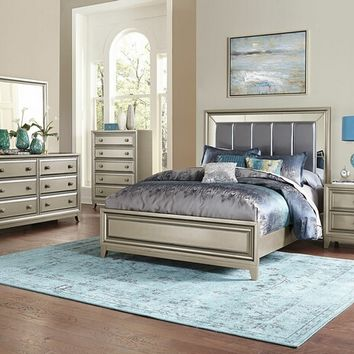 Home Elegance 1839-5PC 5 pc hedy collection antique silver finish wood and graphite grey padded headboard bedroom set