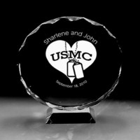 USMC Marine Corps heart dogtags Military  Wedding Cake topper top crystal engraved