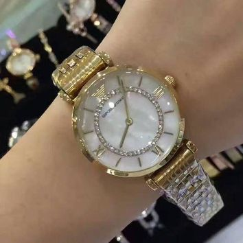 DCCKNQ2 Armani Women Fashion Diamonds Quartz Movement Watch Wristwatch7