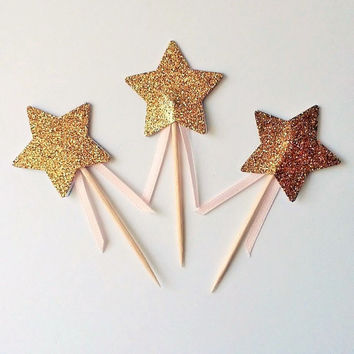 Gold Star Fairy Wand Cupcake Topper - Gold Glitter Cupcake Star - Double Sided - Golden Birthday Princess Party Cake Picks Toothpick Gold
